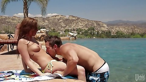 Natural tits petite Maddy OReilly by the pool make out