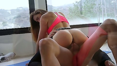 Slightly hairy pussy Chanel Preston cowgirl riding mans penis in position