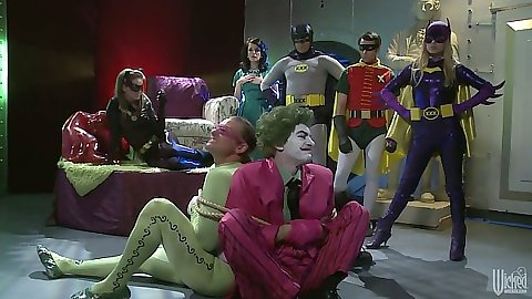 Batman and robin parody Tori Black with lone girl