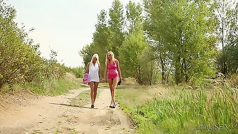 Holly L and Jese Jazz head to the forest to have fun making out lesbians
