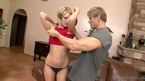 Stripping down petite blond Riley Ray and a blowjob on the couch