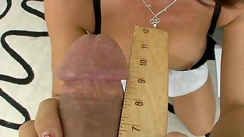 Big dick ruler measurement and titty fuck in pov view from brunette with nice tits and riding penis