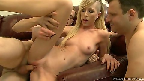 Sideways fucking a petite small boobies hottie Maia Davis  with her bisexual husband