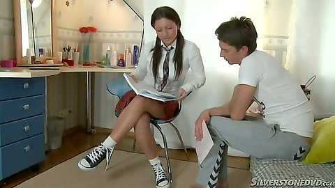 18 year old school girl in her uniform Monica D lets man touch her wet panties