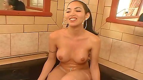Transsexual going for a bath