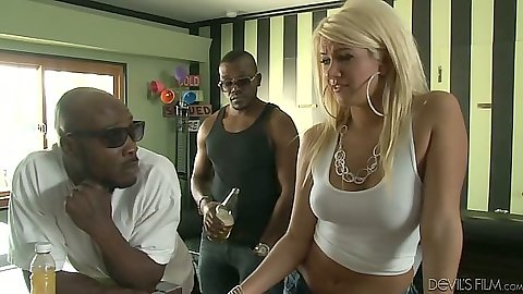 Black cock white skank Layla Price strips naked for group suck