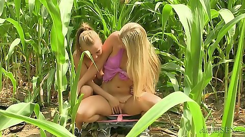 Sex toy half dressed girl on girl teen action outdoors hidden from view Bella Baby and Cayla Lyons