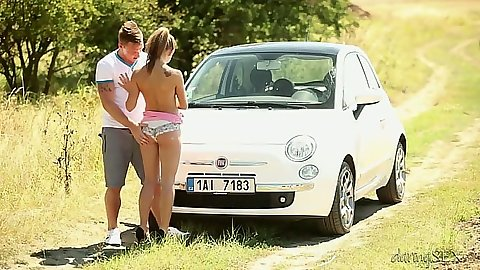 Teen outdoor playing around the car Bella Baby