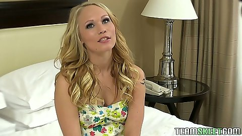 Blonde in cute dress teen Dakota James strips for camera