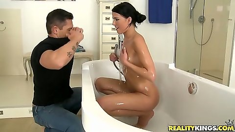 Euro shower with small tits wet girl Samantha Joons