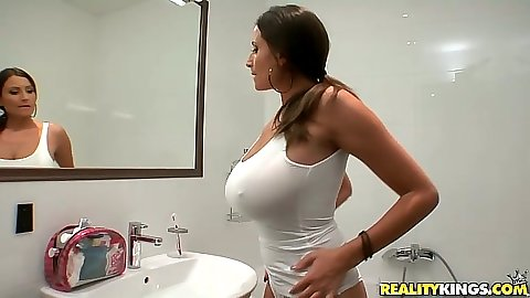 Big tits in wet shirt in the shower from all natural Sensual Jane trying on her fishnet