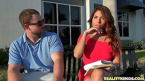 Fully clothed hot latina Isabella De Santos outdoors talking to dude