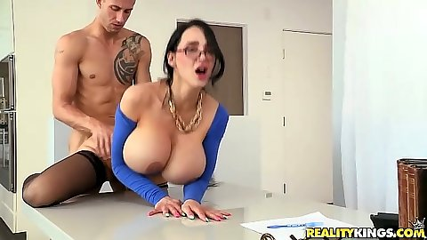 Huge tits blowjob with Amy Anderssen on table