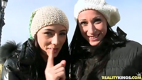 Outdoor euro babes Martina Gold and Sofia Cucci come in to show their firm tits