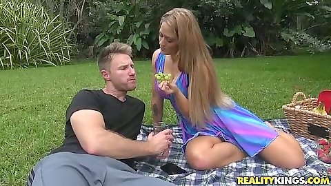 Picnic with milf Holly eating a banana
