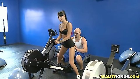Group workout at the gym in hotpants