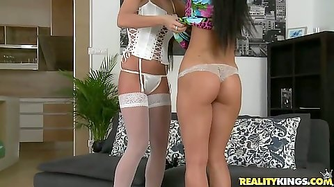 Bras and panties skinny euro girls in stockings with Athina and Clare