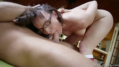 Dana DeArmond deep throat and blowjob brunette