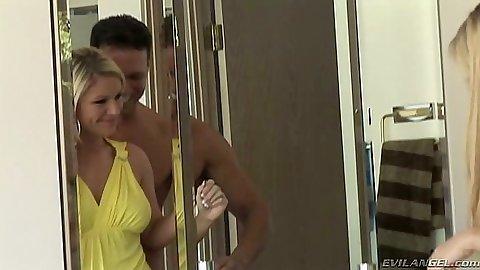 Blonde Ahryan Astyn goes down to suck the dick in bathroom milf
