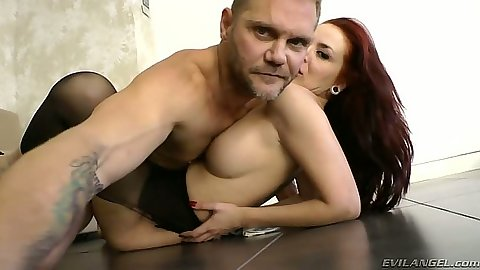 Redhead Lamia Dark fucked on tile floor