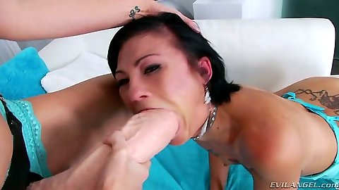 Huge dildo in her mouth with Hailey Young and Sinful the pussy acrobats