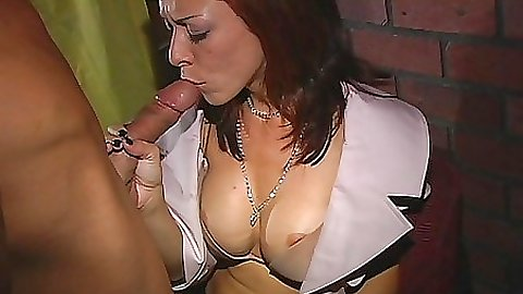 Doggy style fucking a slut in white clothes