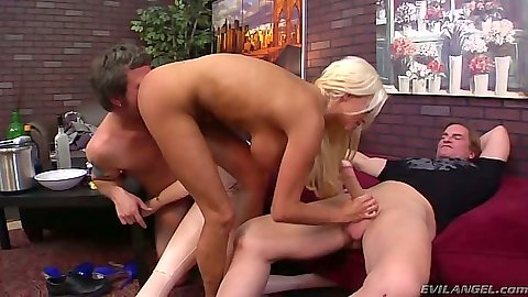 Blowjob and reverse cowgirl cuckold fuck with dude watching Nikita Von James