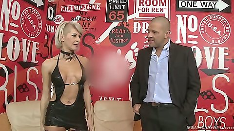Lingerie Cathy E cougar goes down on man in suit
