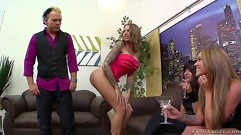 Juelz Ventura and Tegan Summers with Annie Cruz get a femdom party