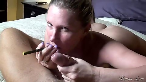 Pov smoking blowjob and smoking going all over dick with Devon Lee