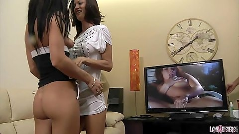 Roxy Lane and Amy Lee pussy licking skinny chicks get a guy invited