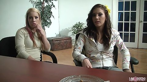 Shana Lane and Roxy Lane fully clothed office casting and signing the deal