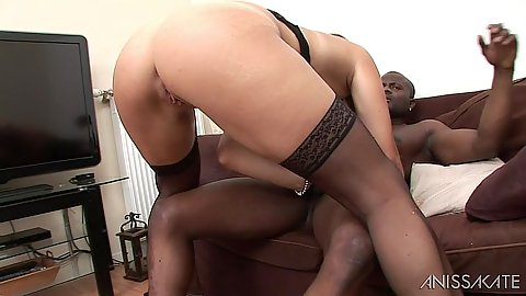 Stockings white whore Stella Lacroix gets a black cock inside her mouth and pussy