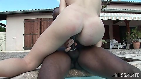 Outdoor interracial cowgirl fuck with petite small boobies Tiffany Doll