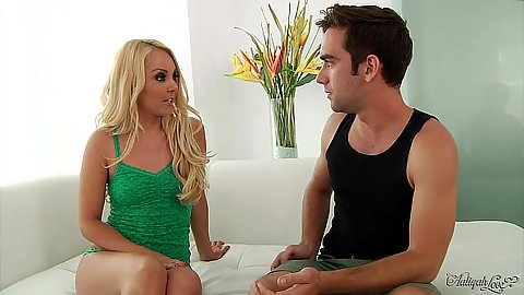 Blonde Aaliyah Love talks to guy wearing a shirt and panties then gets eaten