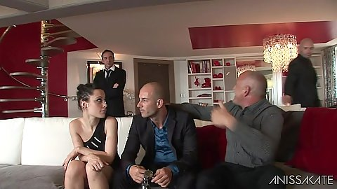 Nikita Bellucci in a room with group of men then does great deep throat