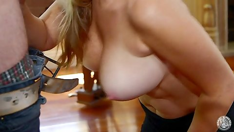 Big tits hanging down while Patricia Price sucks cock near piani