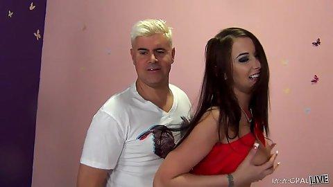 Brunette Alexis Grace in her lingerie receives vaginal lickign