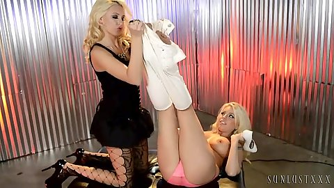 Lesbian Katie Summers and Britney Amber stripping their clothes off to finger each other
