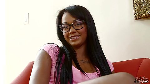 Ebony cutie Harley Dean in tight jean shorts