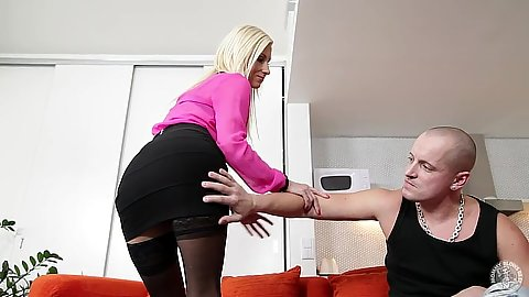 Vanessa Hell milf getting miniskirt slapped and suck dick