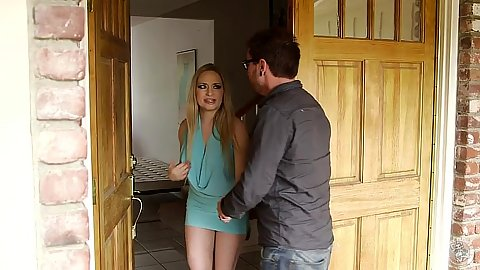 Aiden Starr enters fully clothed flips her dress down and touches his dick