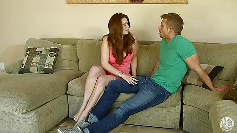 Redhead milf Alison Moore rubs mans pants and sucks his penis