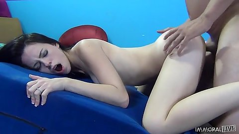 Entered from behind and moaning brunette Veronica Radke