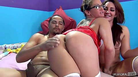 Tory Lane and Savannah Fox in black cock white girl handjob and footjob