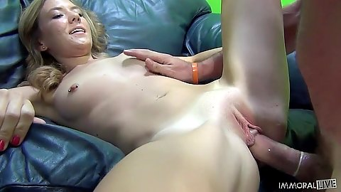 Shaved vagina Alison Faye enjoys a cock thrusting