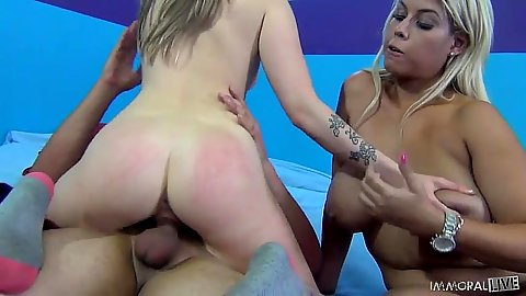 Cowgirl riding and switching positions with awesome babes Kloe Kush and Bridgette B