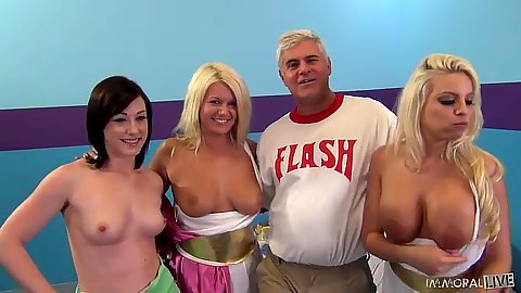 Group of half dressed tits exposed girls at party Britney Amber and Laela Pryce with Jennifer White