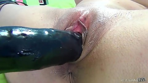 Close up or large thick dildo going in Natasha Juju vagina