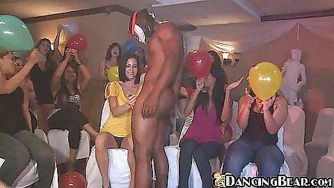 Dancing Bear dancing at a party full of cum